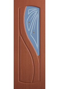 Межкомнатная дверь Лазурит ПВХ ламинированная итальянский орех стекло.