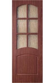 Межкомнатная дверь Альфа ПВХ ламинированная итальянский орех стекло.