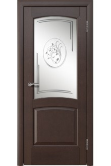 Межкомнатная дверь Леда венге  стекло ландыш